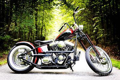 Bobber Harley Davidson Custom Motorcycle Poster by Kim Fearheiley