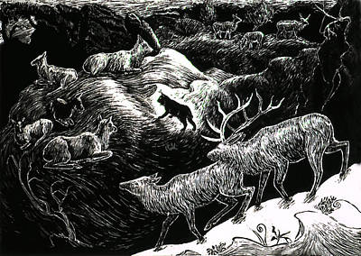 Bobcat Among Elk Poster by Dawn Senior-Trask