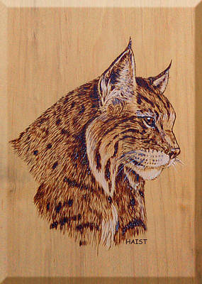 Poster featuring the pyrography Bobcat by Ron Haist