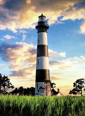 Poster featuring the painting Bodie Island Lighthouse by Christopher Arndt