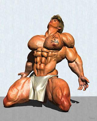 Gay Bodybuilder Art Digital Painting Muscles Fitness Model Sports Naked Nude Male            Vykkurt Poster by    Vykkurt