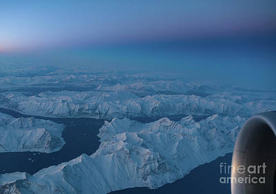 Boeing 777 Flying Over Greenland Fjords Poster