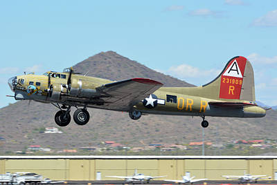 Poster featuring the photograph Boeing B-17g Flying Fortress N93012 Nine-o-nine Deer Valley Arizona April 13 2016 by Brian Lockett
