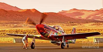 Boeing North American P-51d Sparky At Sunset In The Valley Of Speed Reno Air Races 2010 Poster