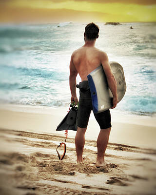 Boggie Boarder At Waimea Bay Poster
