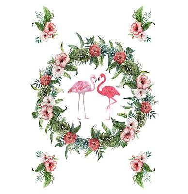 Poster featuring the digital art Boho Floral Tropical Wreath Flamingo by Georgeta Blanaru
