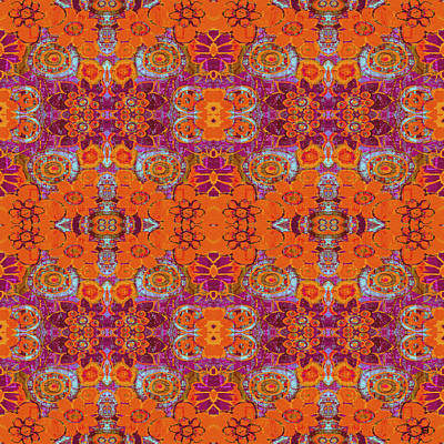 Poster featuring the painting Boho Hippie Garden - Tangerine by Lisa Weedn