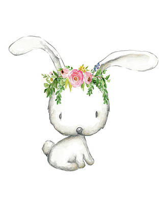 Boho Woodland Bunny Floral Watercolor Poster