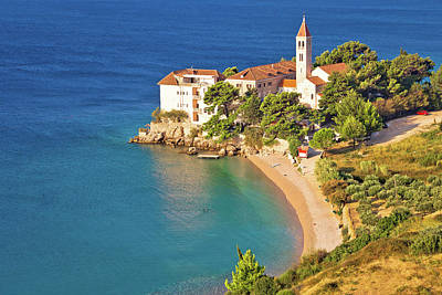 Bol Beach And Monastery Aerial View Poster by Brch Photography