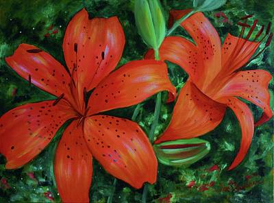 Poster featuring the painting Bold Blooms by Jan Swaren