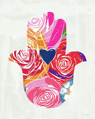Bold Floral Hamsa- Art By Linda Woods Poster by Linda Woods