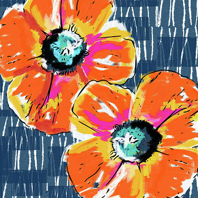 Bold Orange Poppies- Art By Linda Woods Poster by Linda Woods