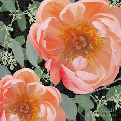 Poster featuring the painting Bold Peony Seeded Eucalyptus Leaves by Audrey Jeanne Roberts