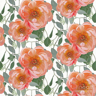 Bold Peony Seeded Eucalyptus Leaves Repeat Pattern Poster by Audrey Jeanne Roberts