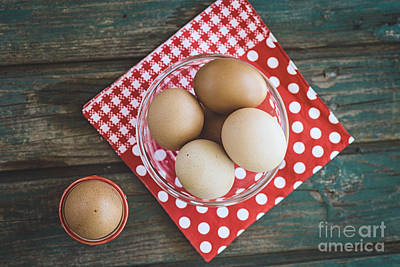 Bolied Eggs  On Wood Poster