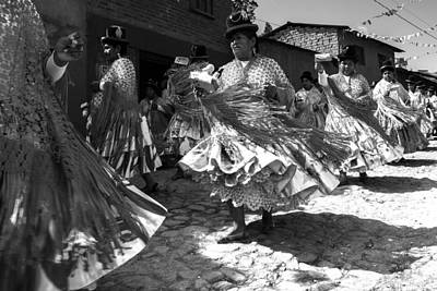 Bolivian Dance Black And White Poster