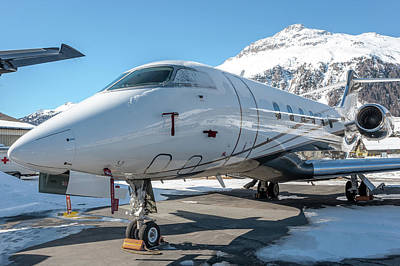 Bombardier Challenger 350 Se-rma Snowed Poster by Roberto Chiartano