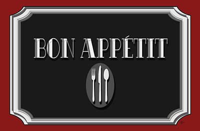 Bon Appetit Art Deco Style Sign Poster by Cecely Bloom