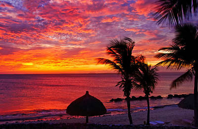 Bonaire Sunset 1 Poster by Stephen Anderson
