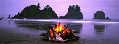 Bonfire On The Beach, Point Of The Poster by Panoramic Images