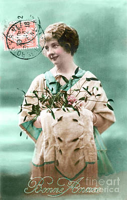 Bonne Annee Vintage Woman Poster by Delphimages Photo Creations