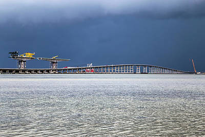 Poster featuring the photograph Bonner Bridge Replacement by Alan Raasch