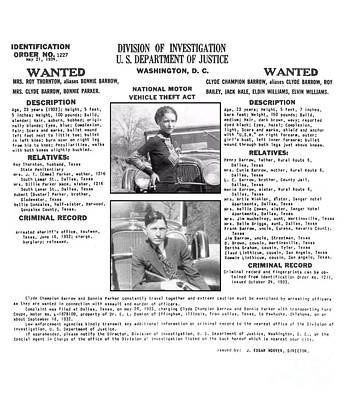 Bonnie And Clyde Wanted Poster Poster