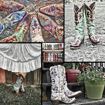 Boot Collage Poster by Sharon Popek