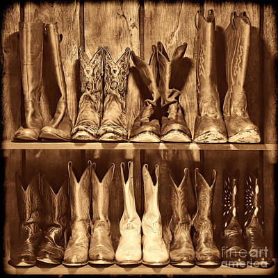 Boot Rack Poster by American West Legend By Olivier Le Queinec