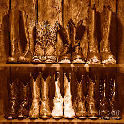Boot Rack - Sepia Poster by Olivier Le Queinec