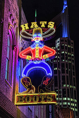 Boots And Hat Neon Sign Poster
