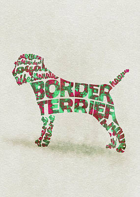 Border Terrier Dog Watercolor Painting / Typographic Art Poster