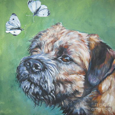 Border Terrier With Butterflies Poster by Lee Ann Shepard
