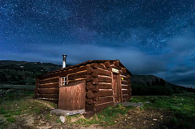 Boreas Pass Cabin Moonlit Night Poster by Michael J Bauer
