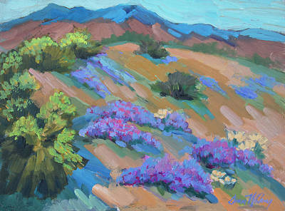 Poster featuring the painting Borrego Springs Verbena by Diane McClary