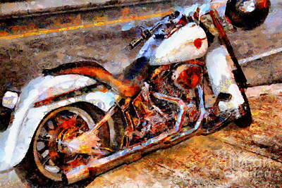 Boss Hog . Harley-davidson .  Painterly . 7d12757 Poster by Wingsdomain Art and Photography
