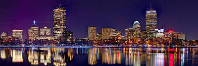 Poster featuring the photograph Boston Back Bay Skyline At Night 2017 Color Panorama 1 To 3 Ratio by Jon Holiday