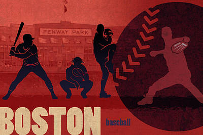 Boston Baseball Team City Sports Art Poster by Design Turnpike