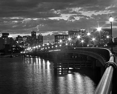 Boston Blue Hour Black And White Poster