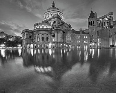 Boston Christian Science Building Reflecting Pool Black And White Poster by Toby McGuire