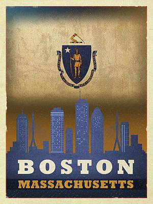Boston City Skyline State Flag Of Massachusetts Art Poster Series 016 Poster
