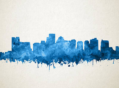 Boston City Skyline Watercolor 11 Poster