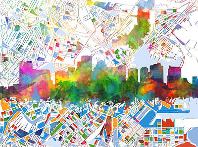 Boston City Skyline Watercolor 15 Poster