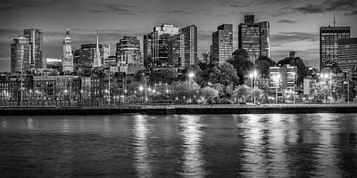 Boston Evening Skyline  - Monochrome Panorama Poster