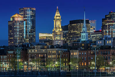 Boston Evening Skyline Of North End And Financial District Poster
