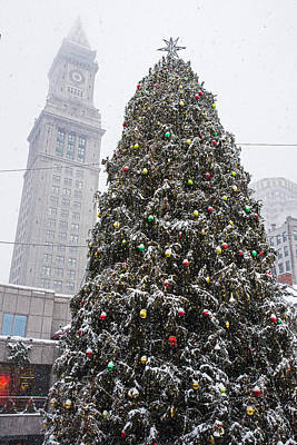 Boston Faneuil Christmas Tree Snow Covered With Custom House Overhead Poster by Toby McGuire