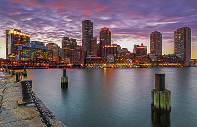 Boston Harbor And Financial Waterfront District Skyline Poster by Juergen Roth