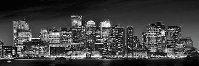 Boston Harbor Panorama In Black And White Poster by Frozen in Time Fine Art Photography