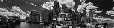 Boston Harbor Panoramic In Black And White Poster