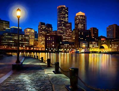 Boston Harbor Skyline Painting Of Boston Massachusetts Poster